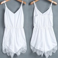 Women's Lace Chiffon Sleeveless Jumpsuit Rompers