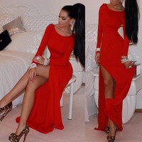 Sexy Women Long Sleeve Bodycon Evening Party Cocktail Long Maxi Dress Size 6 -16