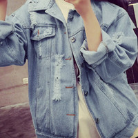 Blue Distressed Denim Jacket