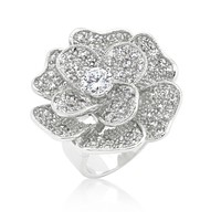 Frawn Large Flower Cocktail Statement Ring | 9ct | Cubic Zirconia | Silver