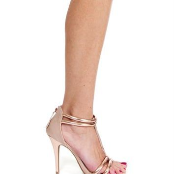 Rose Gold Strappy Heels