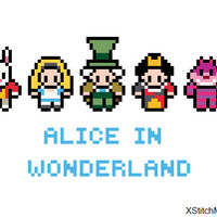 Alice In Wonderland Cross Stitch Pattern (PDF) INSTANT DOWNLOAD