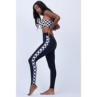 Junko Side Panel High Waist Leggings - Black/Black & White Checkered Print