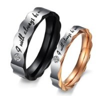 "Women - Size 7 - KONOV Stainless Steel Love ""I Will Always Be with You"" Couples Promise Ring Mens Womens Wedding Bands"