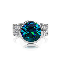 4.04ct London blue topaz engagement ring, diamond ring, teal engagement,pave, gold, bezel, solitaire, wide, wedding ring, blue wedding