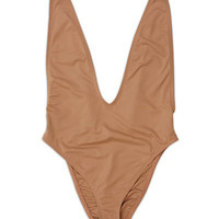 High Cut Deep V One Piece Swimsuit - Rose