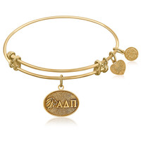 Expandable Bangle in Yellow Tone Brass with Alpha Delta Pi Symbol