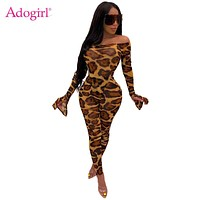Adogirl Leopard Print Women Sexy Two Piece Set Off Shoulder Long Flare Sleeve Bodysuits Top + Pencil Pants Night Club Suits