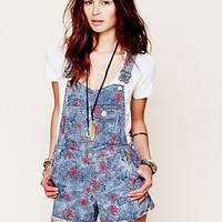 Free People Womens Railroad Printed Overall - Secret Garden, 12
