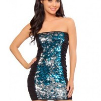 Black Turquoise Sequin Strapless Mini Dress @ Wowpink sexy dresses,sexy dress,prom dress,summer dress,spring dress,prom gowns,teens dresses,sexy party wear,women's cocktail dresses,ball dresses,sun dresses,trendy dresses,sweater dresses,teen clothing,even