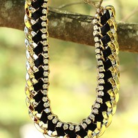 Braided Beauty Necklace in Black