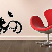 Wall Stickers Vinyl Decal Cute Cat Animal Pet Butterfly Unique Gift ig1376