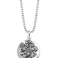 """Sterling Silver """"Sisters Are Different Flowers From The Same Garden"""" Reversible Flower Necklace, 18"""""""