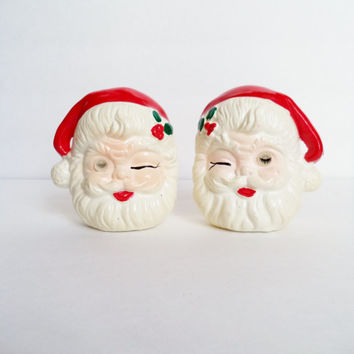 Vintage Winking Santa Salt and Pepper Shakers Serving Holiday Christmas Mid Century Collectibles