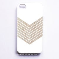 iPhone 5 Case White Geometric Minimalist with Wood Grain