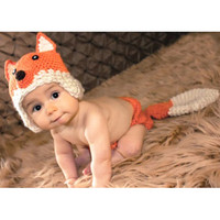 Newborn Crochet Baby Fox Orange Costume Photography Props Knitting Baby Hat Bow Infant Baby Photo Props