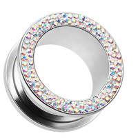 Sparkling Multi Glass-Gem Screw-Fit Ear Gauge Tunnel Plug