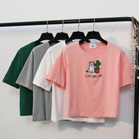 Cool Embroidery Cat and Me Short Sleeves Crop T-shirt Top