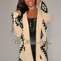 Cream Black Aztec Print Sweater Cardigan