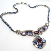 Vintage Red and Blue Rhinestone Signed Trifari Necklace