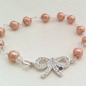 Pearl Bracelet with Bow, Bridesmaid Gifts Pearl Bracelets