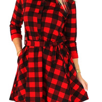 Red And Black Plaid Belted 3/4 Sleeve Shirt Dress