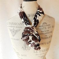 Loop Scarf in Cocoa, Brown, White and Black Rayon Knit