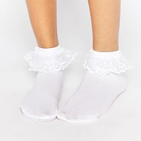 Leg Avenue | Leg Avenue Anklet Sock With Lace Ruffle at ASOS