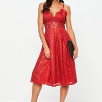 Missguided - Red Lace Strappy Midi Skater Dress