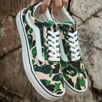 VANS X Aape camouflage green Classic Canvas Leisure Shoes G-ZPMY-ZZQGDL