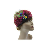 Fuchsia & Black Peacock Jeweled Knit Headband