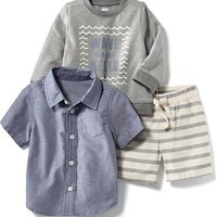 3-Piece Oxford, Sweatshirt and Shorts Set | Old Navy