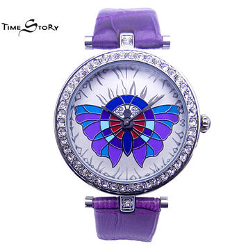 Brand Time Story Fashion Luxury 3D Butterfly Carved Women's Watches Ladies Japan Quartz Watch Genuine Leather Band Rhinestone
