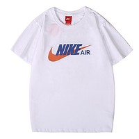 NIKE Air Summer New Letter Hook Print Women Men Top T-Shirt White