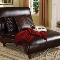 Chaise Lounge with Scroll Design in Brown Bycast