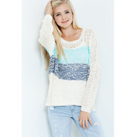 Two Tone Lightweight Knit Sweater