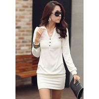 Turndown Collar Puff Long Sleeve Mini Dress