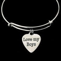 Love My Boys Adjustable Bracelet Silver Expandable Charm Bracelet Bangle Gift Mom Gift