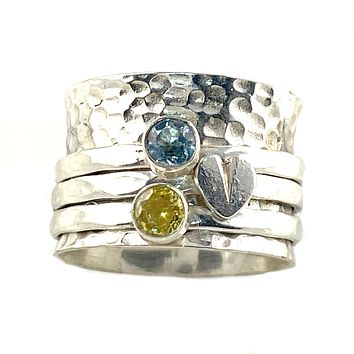Spinner Ring - Heart's Desire Blue Topaz & Citrine Ring