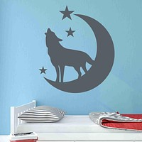 Wolf with Moon and Stars Wall Decal