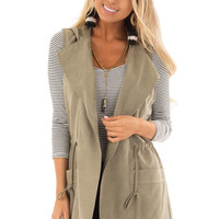 Olive Hoodie Vest with Drawstring and Pockets