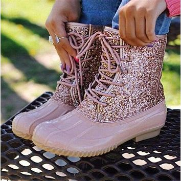 Lady Duck Boot With Waterproof Zipper Rubber Sole Rain Boots Lace Up