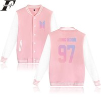 BTS Album Love Yourself Kpop Baseball Jacket Womens Hoodies Pullover Streewear Hoodie Pink Sweatshirt Women Long Baseball Jacket