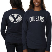 BYU Cougars Women's Long Sleeve Fitted Slab Serif T-Shirt – Navy Blue