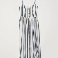 Dress with Buttons - White/dark blue striped - Ladies | H&M US