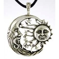 Moon and Sun Windblown Amulet - Wicca Necklace