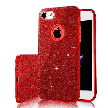 3 IN 1 Gradient Glitter Cover for iphone 11 Pro Max 7 8 plus X XR XS Max 5 5S SE 6 6S Plus Case Clear PC+TPU Bling Coque Fundas