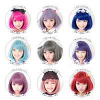 New Hot 32cm short straight sexy ladies Pink Red Bob synthetic hair wig peruca,Top quality Japanese kanekalon fibre party wig