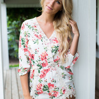 Now I Know the Truth Floral Lace Romper Ivory