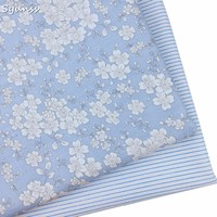 100% cotton twill cloth elegant blue floral stripe fabric for DIY kid crib bedding dress clothes cushion handwork tissue tecidos